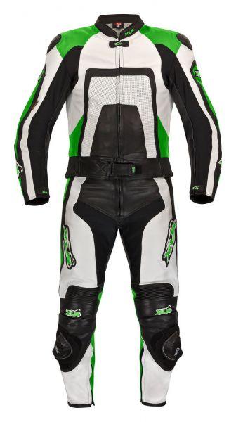 "Neue 2-teilige Lederkombi von XLS Modell ""Green Carbon"" Kawasaki-Grün"