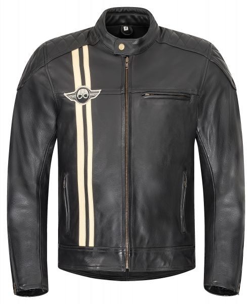 Herren Motorradjacke schwarz Classic Stripes Lederjacke